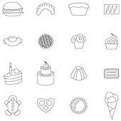 Bakery icons set, thin line style