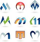 Abstract icons for letter M