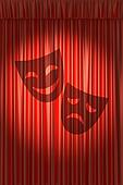 Red theater curtain with shadow of two masks