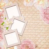 vintage card with roses in pink and beige colors