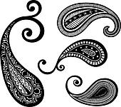 hand drawing henna paisley