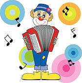 clown playing the accordion.