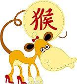 Funny Chinese zodiac. Monkey