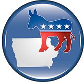 Democrat Iowa Button