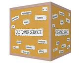 Customer Service 3D Cube Corkboard Word Concept