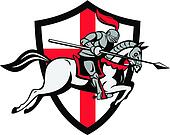 English Knight Riding Horse England Shield Retro