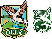 mallard duck flying emblem