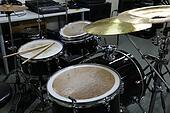 Drum set in training room. Music eq