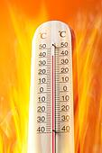 Celsius thermomether with fire flames