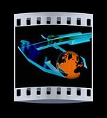 Vernier caliper measures the Earth. Global 3d concept. The film strip