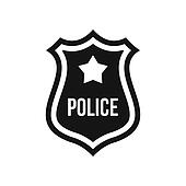 Police badge icon, simple style