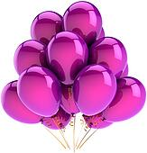 Purple helium ballons in a bunch