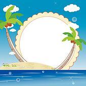 kid's photo framework with sea beach background