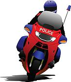 Policeman on police motorcycle on