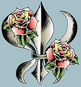 rose with shield emblem