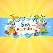 Colorful beach banner with cartoon elements