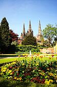 Lichfield Cathedral and gardens.