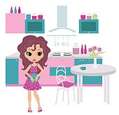 Cartoon girl on kitchen bears a tea