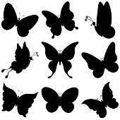 Butterflies, silhouettes, set