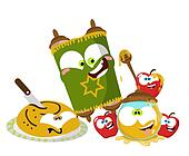 Cute cartoon Jewish New year object