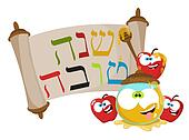 Cute cartoon Jewish New year apples