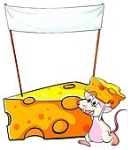 A mouse carrying a slice of cheese below the empty banner