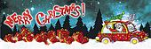 Merry Christmas banner with Santa Claus Driver and gifts