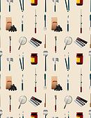 cartoon barbeque party tool seamless pattern