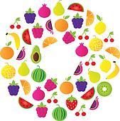 Fresh Fruit Circle isolated on white background