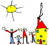 Child drawing of family, sun and house