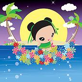 Angel playing in the sea by flowers boat , Mid-Autumn Festival illustration