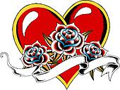 gothic heart tattoo emblem