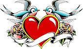 gothic heart tattoo emblem