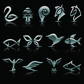 Abstract silver animal icons