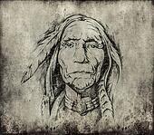 Tattoo art, sketch of an indian head