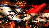 Israel Indonesia Flag War Torn Fire International Conflict 3D