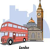 London England Big Ben & Bus