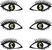 Eyes wirh currency icons