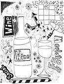 hand drawn wine doodles