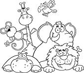 Outlined Animals Illustration