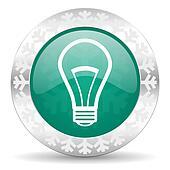 bulb green icon, christmas button, light bulb sign