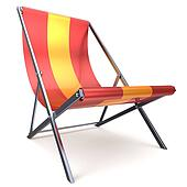 Beach chair chaise longue red yellow nobody relaxation icon