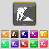 repair of road, construction work icon sign. Set with eleven colored buttons for your site.
