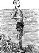 Breaststroke, First Position, vintage engraved illustration
