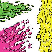 Vibrant paint splashes cartoon