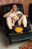 Hamburger eating lazy couch potato