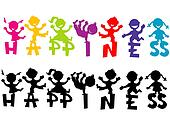 Doodle children with happiness text