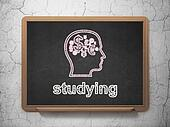 Education concept: Head With Finance Symbol and Studying on chalkboard background