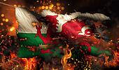 Wales Burning Fire Flag War Conflict Night 3D
