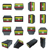 myanmar flags 3D Box with  mesh texture